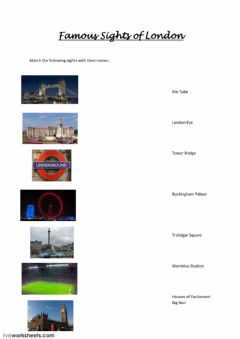 Interactive worksheet Famous London Sights