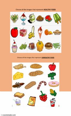 Interactive worksheet Healthy - unhealthy food