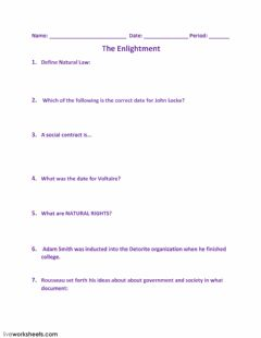 Interactive worksheet The Enlightment