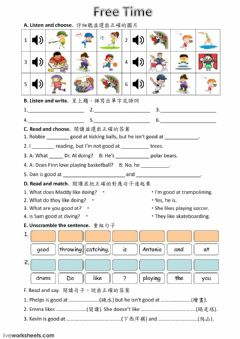 Interactive worksheet ODI5-Unit 3 Free Time