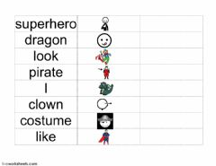 Interactive worksheet Halloween Costume