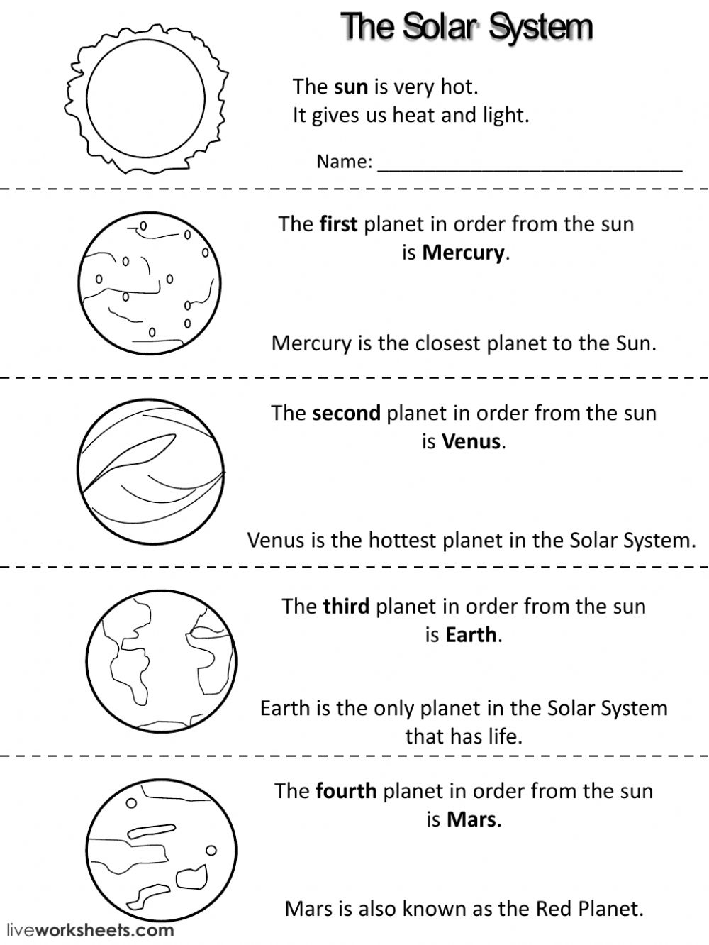 Planets Facts Interactive Worksheet