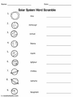 Interactive worksheet Planets facts