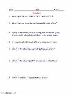 Interactive worksheet Rule of Law