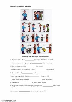 Interactive worksheet Personal subject pronouns