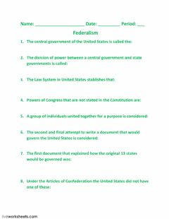 Interactive worksheet Federalism