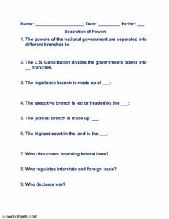 Interactive worksheet Separation of Powers