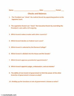 Interactive worksheet Checks and Balances