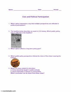 Interactive worksheet Civic and Political Participation