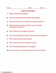 Interactive worksheet Popular Sovereignty