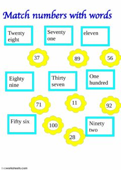 Interactive worksheet Number matching
