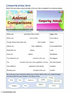 Interactive worksheet Animal comparisons