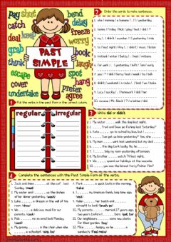 Interactive worksheet Past simple - 4 tasks