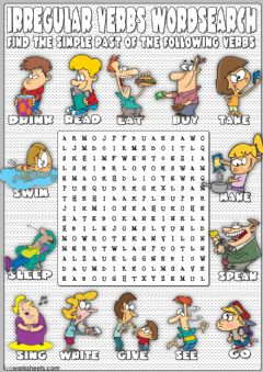 Ficha interactiva Irregular verbs wordsearch