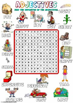 Ficha interactiva Adjectives - opposites - wordsearch