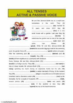 Interactive worksheet All tenses (active - passive voice)