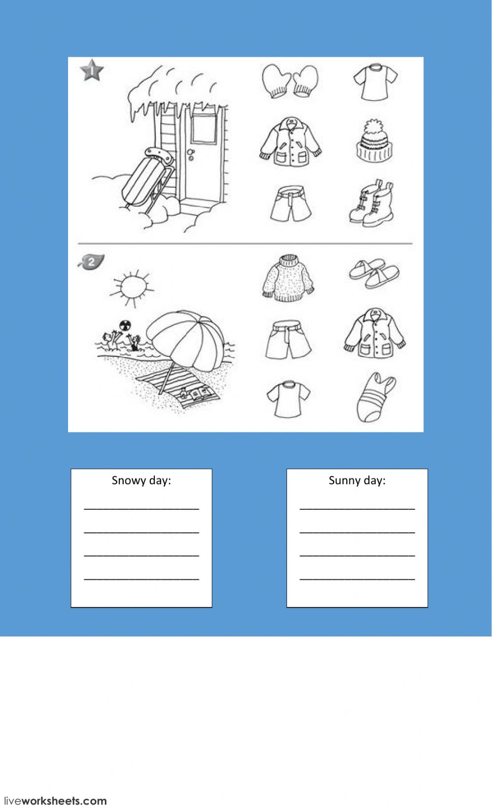 clothes and weather the clothes worksheet. Black Bedroom Furniture Sets. Home Design Ideas
