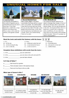 Interactive worksheet Unusual homes for sale