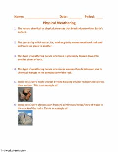 Interactive worksheet Physical Weathering