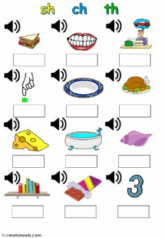 Interactive worksheet sh ch th digraphs