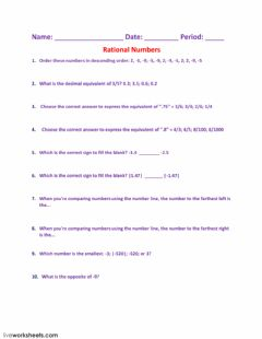 Interactive worksheet Rational Numbers