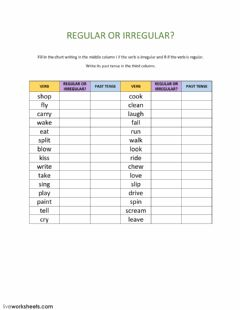 Interactive worksheet Regular or Irregular verbs?
