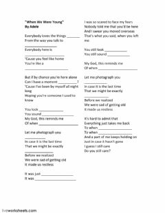 Interactive worksheet When we were young. Song by Adele