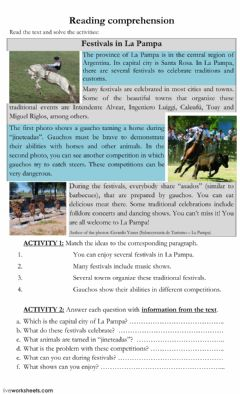 Ficha interactiva Reading comprehension 2