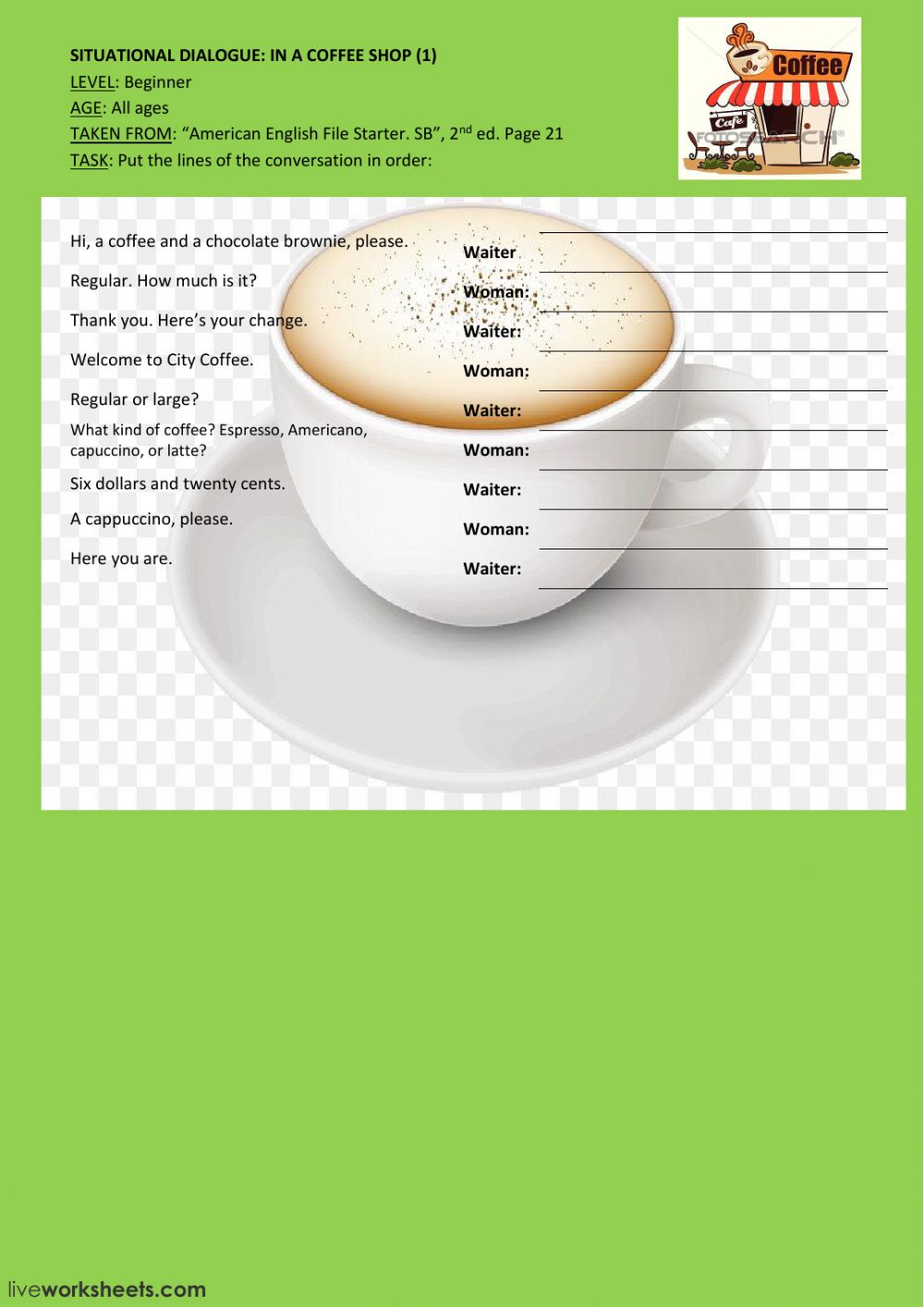 Situational dialogue: In a coffee shop Interactive worksheet