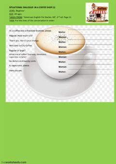 Interactive worksheet Situational dialogue: In a coffee shop