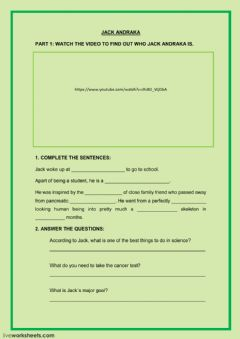 Interactive worksheet Jack Andraka listening