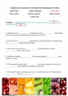 Interactive worksheet healthy diet vocabulary