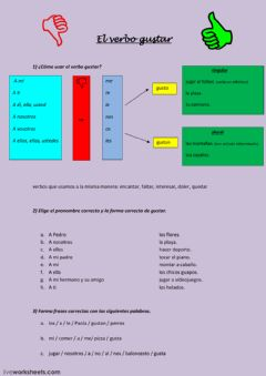 Interactive worksheet El verbo gustar