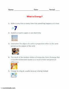 Interactive worksheet What is Energy?