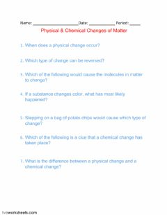 Ficha interactiva Physical - Chemical Changes of Matter