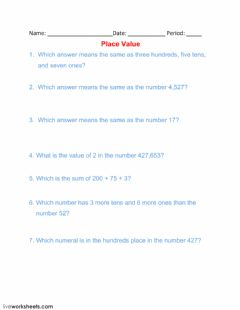 Ficha interactiva Place Value