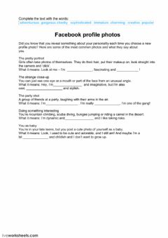 Interactive worksheet Photo profile