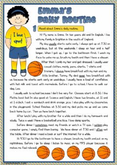 Interactive worksheet Emma's daily routine - reading
