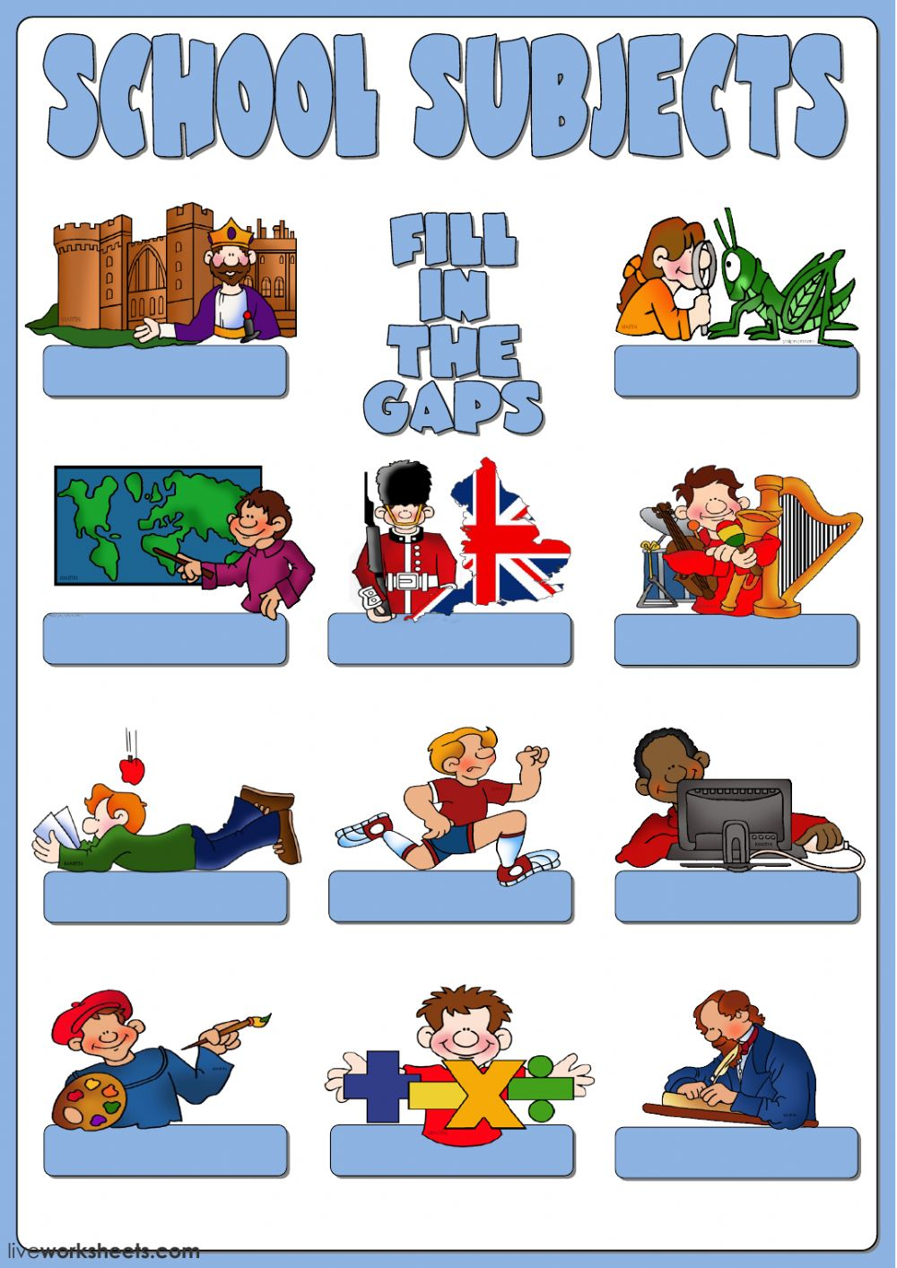 School subjects - Fill in the gaps - Interactive worksheet