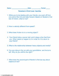 Interactive worksheet Newton's First Law: Inertia