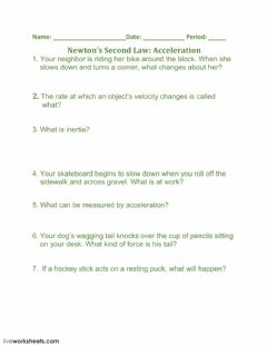 Interactive worksheet Newton's Second Law: Acceleration