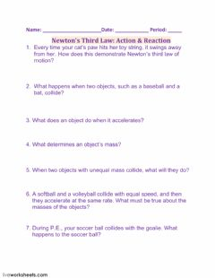 Interactive worksheet Newton's Third Law: Action - Reaction