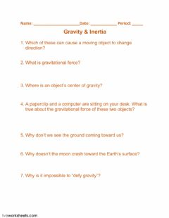 Interactive worksheet Gravity - Inertia