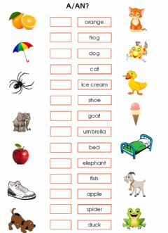 Interactive worksheet Indefinite articles: a-an