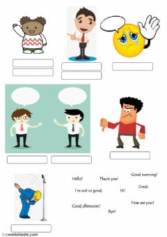 Interactive worksheet hello goodbye
