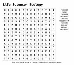 Ficha interactiva Ecology Word Search