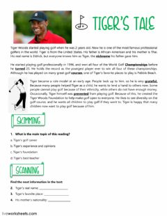 Interactive worksheet Reading: Tiger's tale