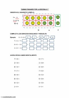 Interactive worksheet Sumas agrupando 10