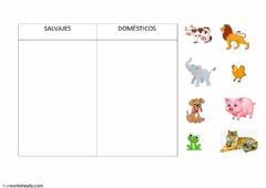 Interactive worksheet Animales domésticos- salvajes