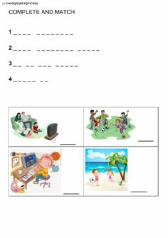 Interactive worksheet Free time activities - Beginner